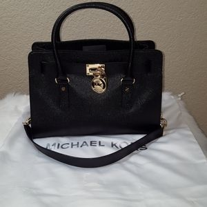 Michael Kors Hamilton Satchel Black Leather Large
